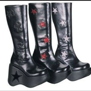 Demonia Star KISS Silver and Black Boots